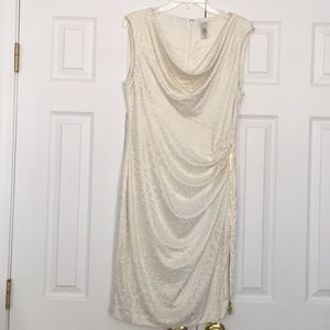 Cache cream colored/Leopard print dress